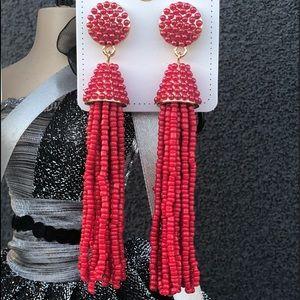 Atelier Sona Jewelry - Beaded Tassel Earrings Red With Gold Base